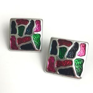 Vintage Earrings Large Square Abstract Color Block